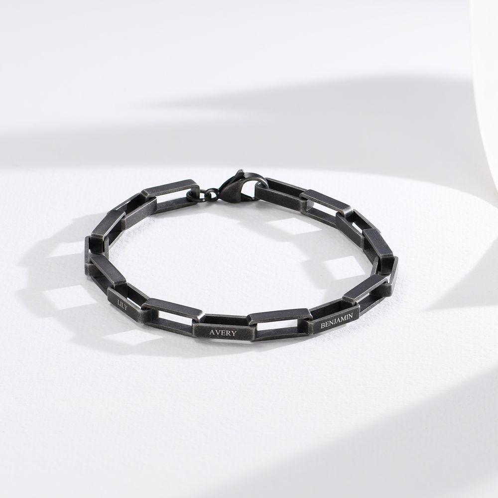 Custom Square Link Men Bracelet in Black Stainless Steel - 1
