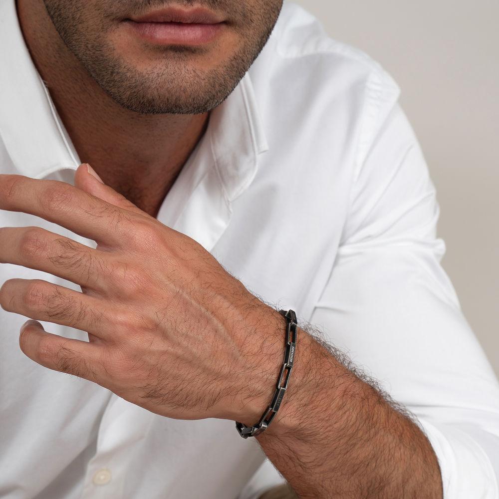 Custom Square Link Men Bracelet in Black Stainless Steel - 2