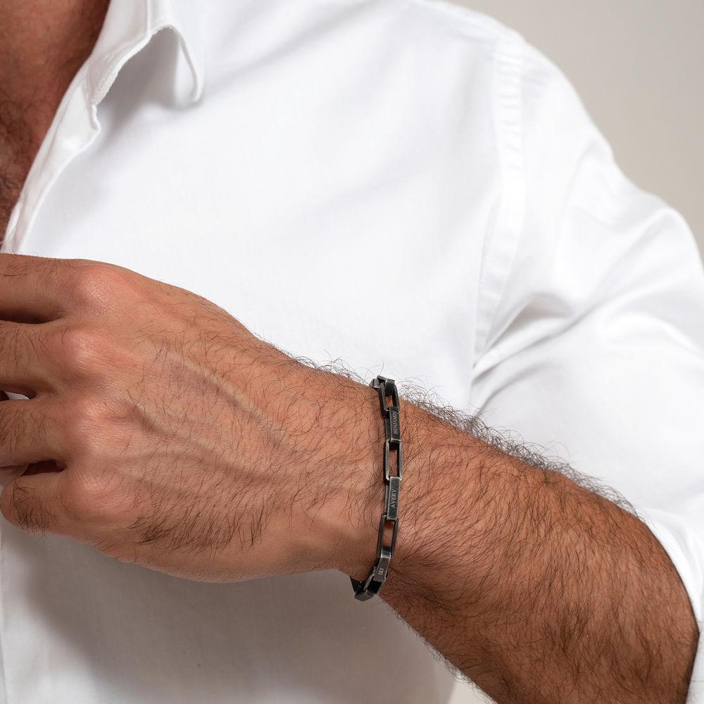 Custom Square Link Men Bracelet in Black Stainless Steel - 3