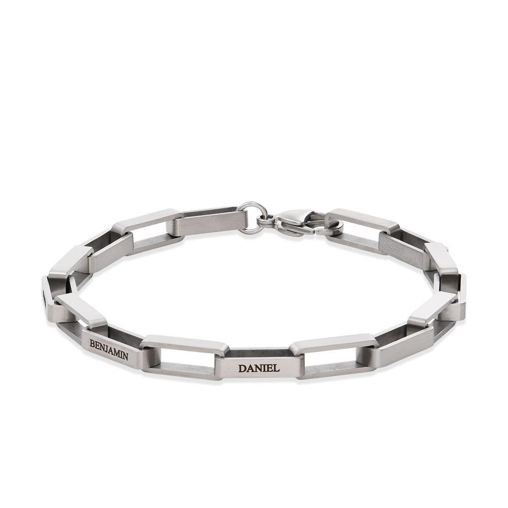 Custom Square Link Men Bracelet in Matte Stainless Steel