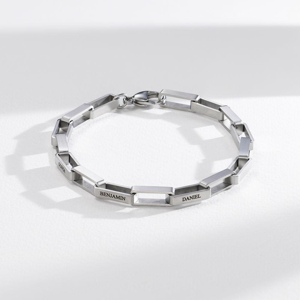 Custom Square Link Men Bracelet in Matte Stainless Steel  - 1
