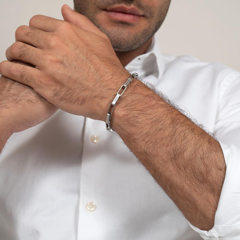 Custom Square Link Men Bracelet in Matte Stainless Steel  - 2