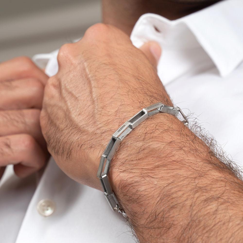 Custom Square Link Men Bracelet in Matte Stainless Steel  - 3