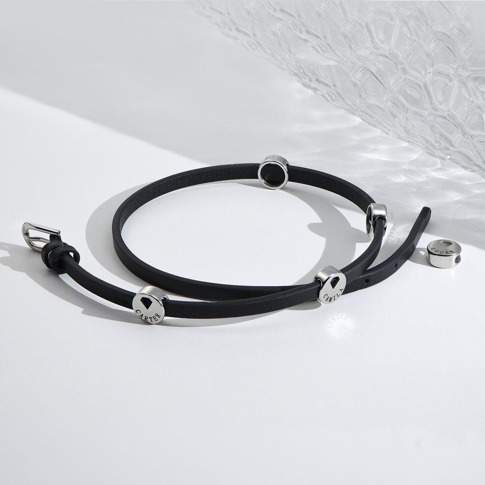 Wrap-Around Leather Bracelet with Charms  - 3