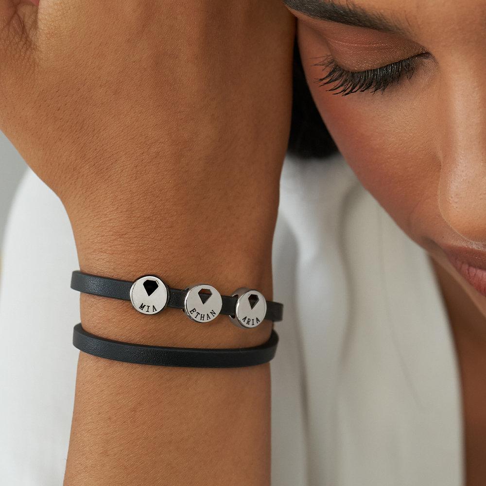 Wrap-Around Leather Bracelet with Charms  - 4