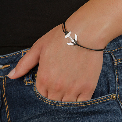 Personalized Silver Anchor Bracelet - 1