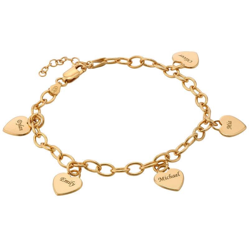 Link Bracelet with Heart Charms in 18k Gold Plating