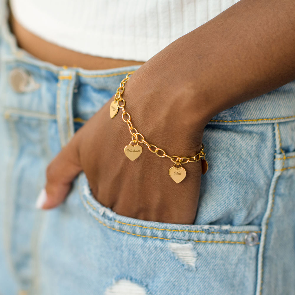 Link Bracelet with Heart Charms in 18k Gold Plating - 2