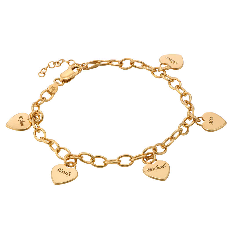 Link Bracelet with Heart Charms in Gold Vermeil