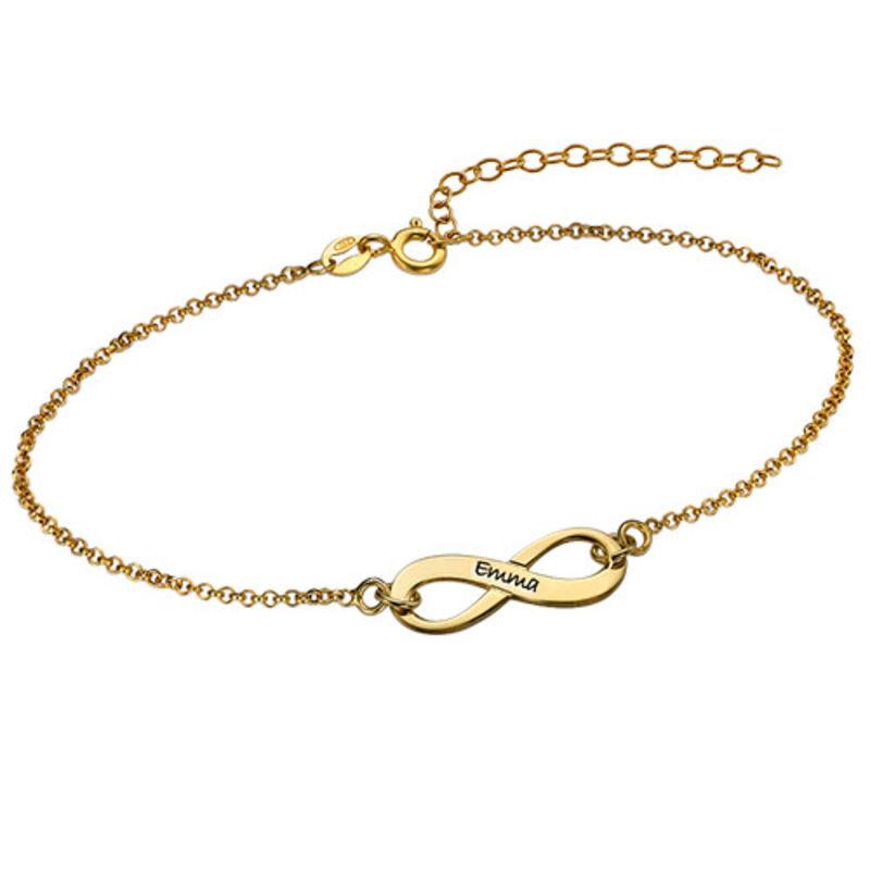 18k Gold Plated Engraved Infinity Bracelet