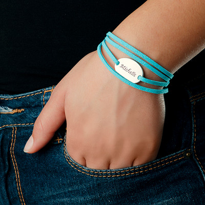 Suede Wrap Bracelet with Personalized Charm - 4