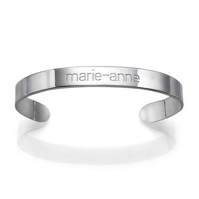 Engraved Cuff Bracelet in Silver