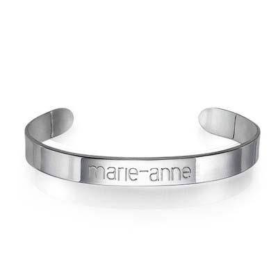 Engraved Cuff Bracelet in Silver - 1