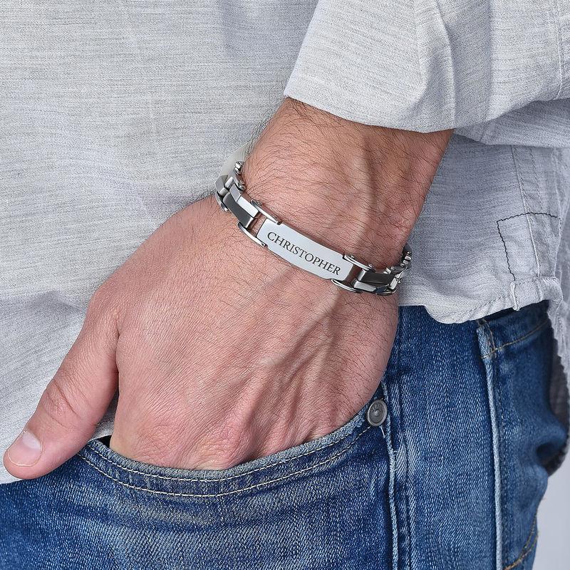 Men's Engraved Stainless Steel Bracelet - 1