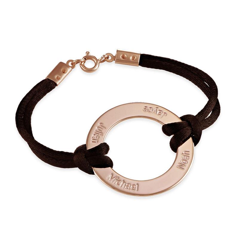 Engraved Infinity Circle Bracelet in Rose Gold Plating