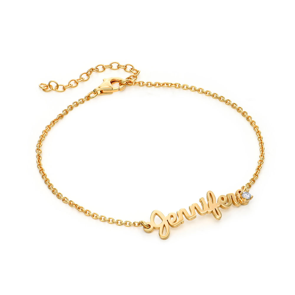 Cursive Name Bracelet in Gold Plating with Diamond