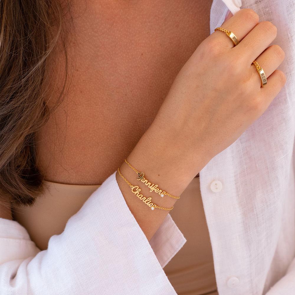 Cursive Name Bracelet in Gold Plating with Diamond - 1