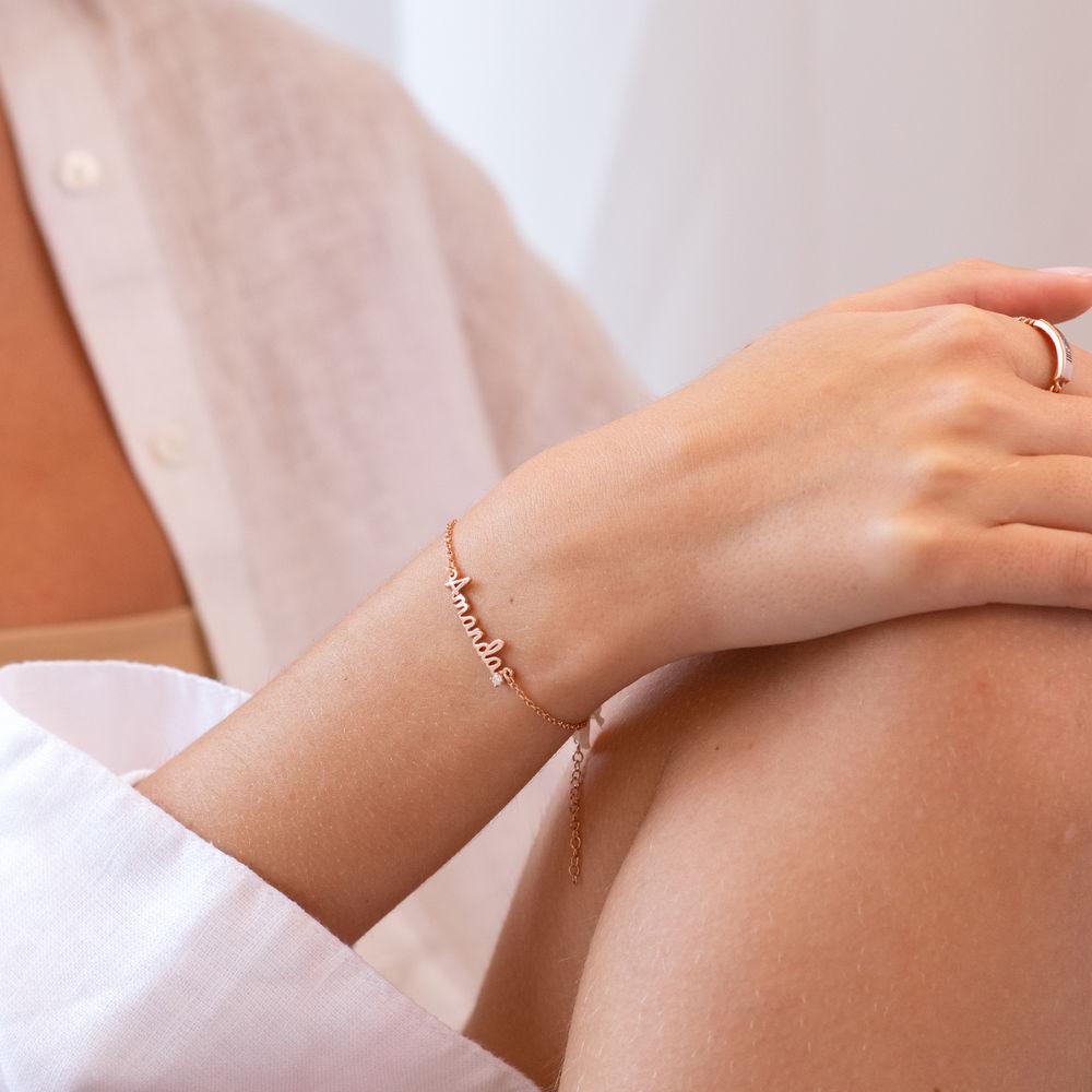Cursive Name Bracelet in Rose Gold Plating with Diamond - 1