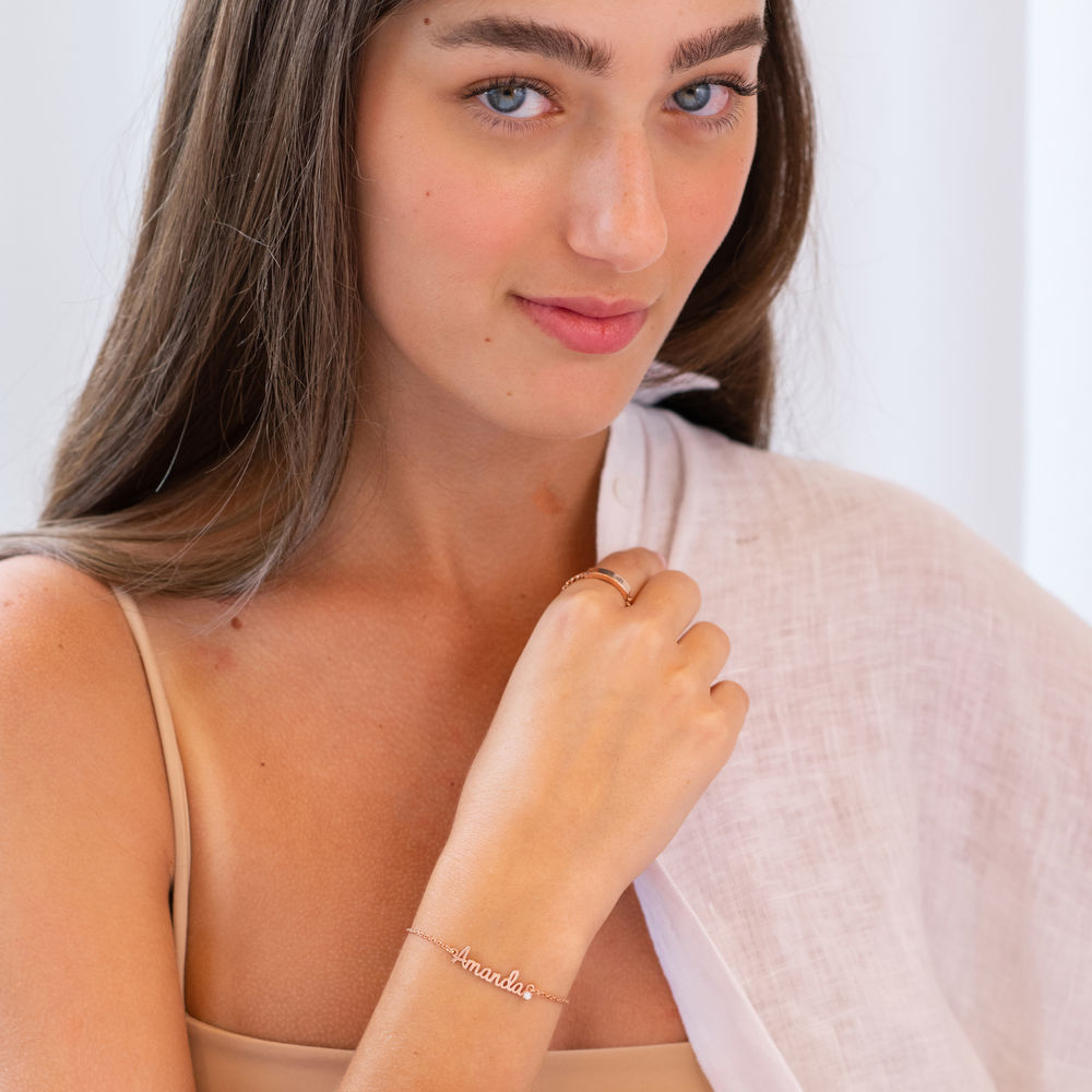 Cursive Name Bracelet in Rose Gold Plating with Diamond - 2