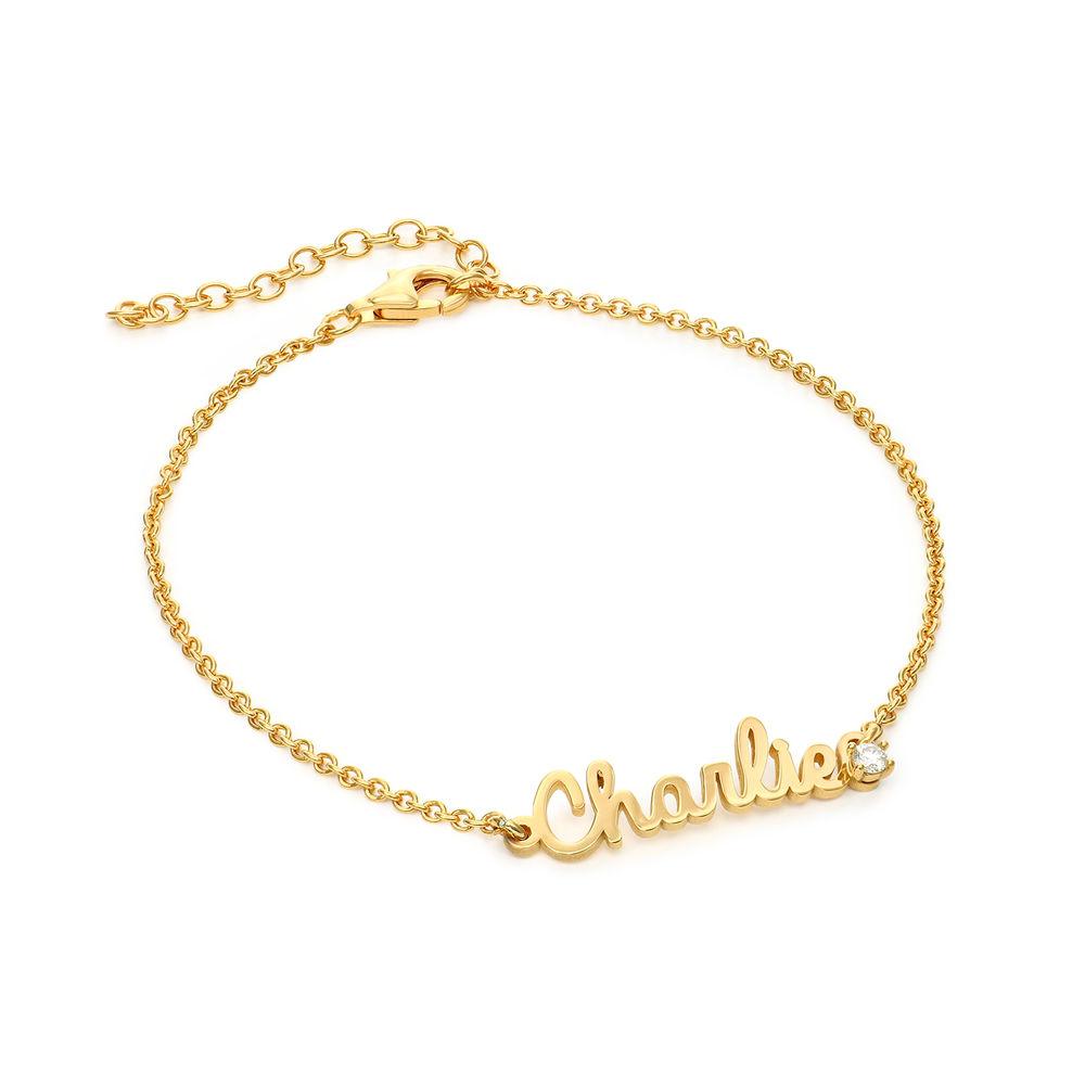 Cursive Name Bracelet in Gold Vermeil with Diamond