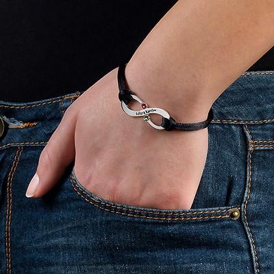 Couple's Infinity Bracelet with Birthstones - 2