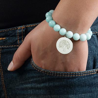 Beaded Bracelet with Family Tree Charm - 3