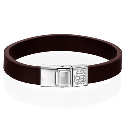 Men's Brown Leather Monogram Bracelet