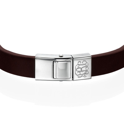Men's Brown Leather Monogram Bracelet - 1