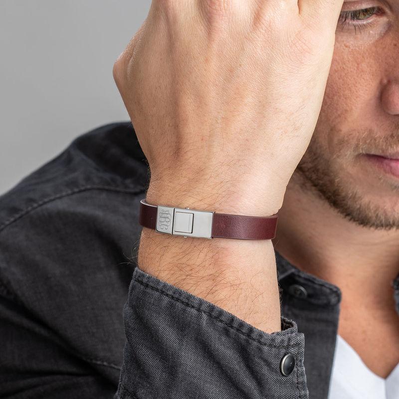 Men's Brown Leather Monogram Bracelet - 2