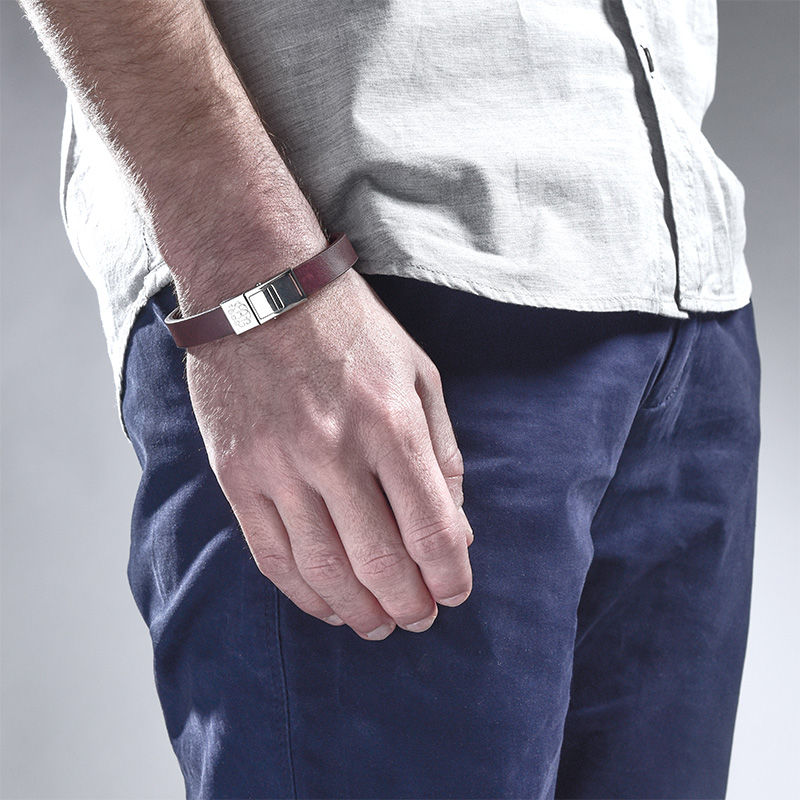 Men's Brown Leather Monogram Bracelet - 3