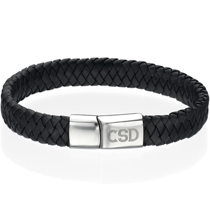 Thick Woven Black Leather Initials Bracelet for Men
