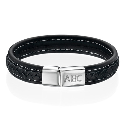 Men's Black Leather Initial Bracelet