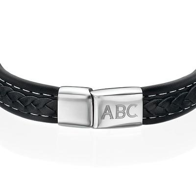 Men's Black Leather Initial Bracelet - 1