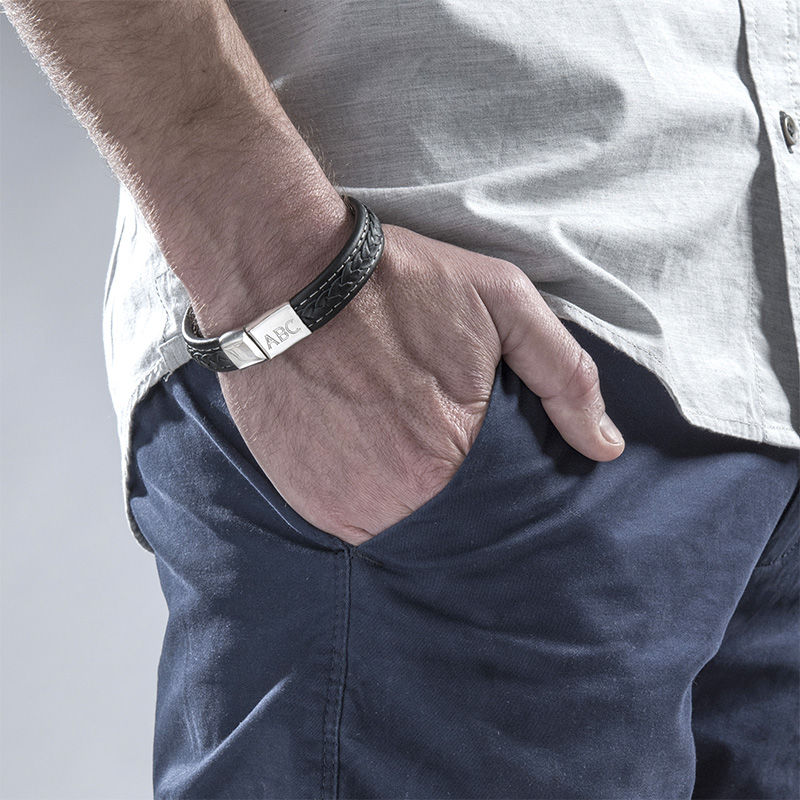 Men's Black Leather Initial Bracelet - 2