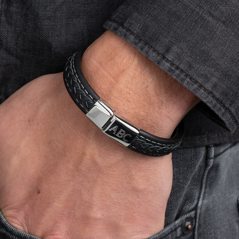 Men's Black Leather Initial Bracelet - 3