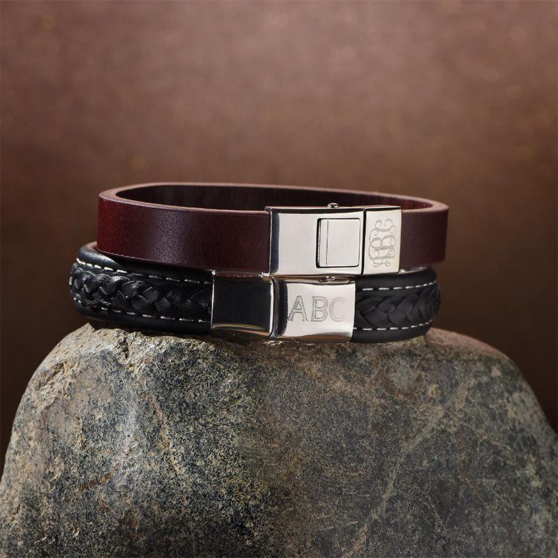 Men's Black Leather Initial Bracelet - 4