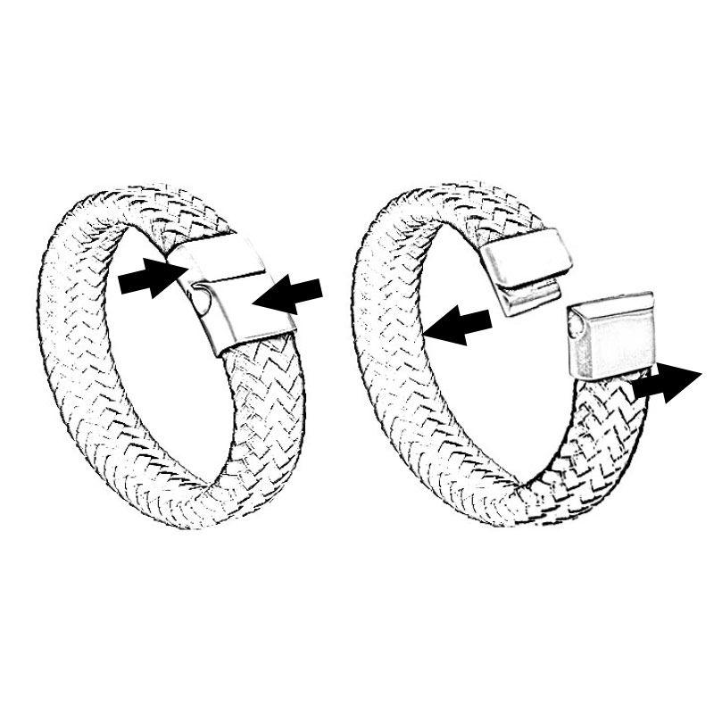 Men's Black Leather Initial Bracelet - 5