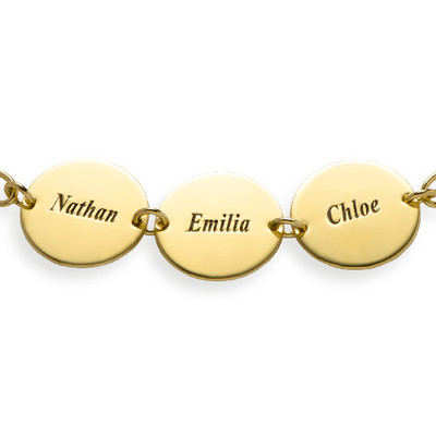 Special Gift for Mom - Disc Name Bracelet with 18K Gold Plating - 1