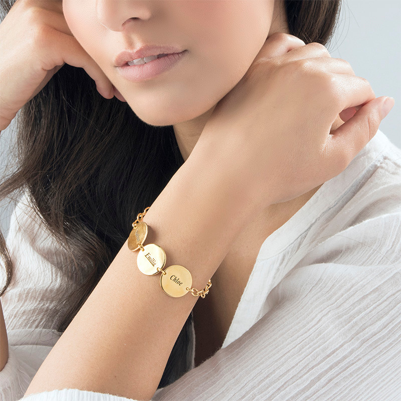 Special Gift for Mom - Disc Name Bracelet with 18K Gold Plating - 2
