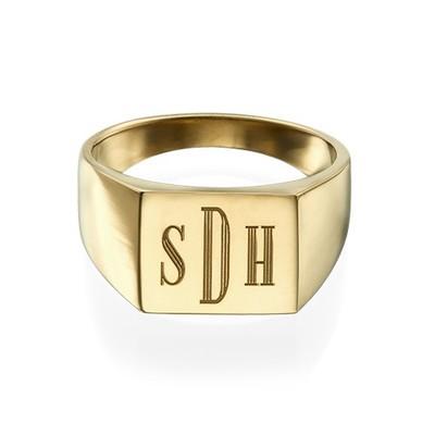 Monogrammed Signet Ring - 18k Gold Plated - 1