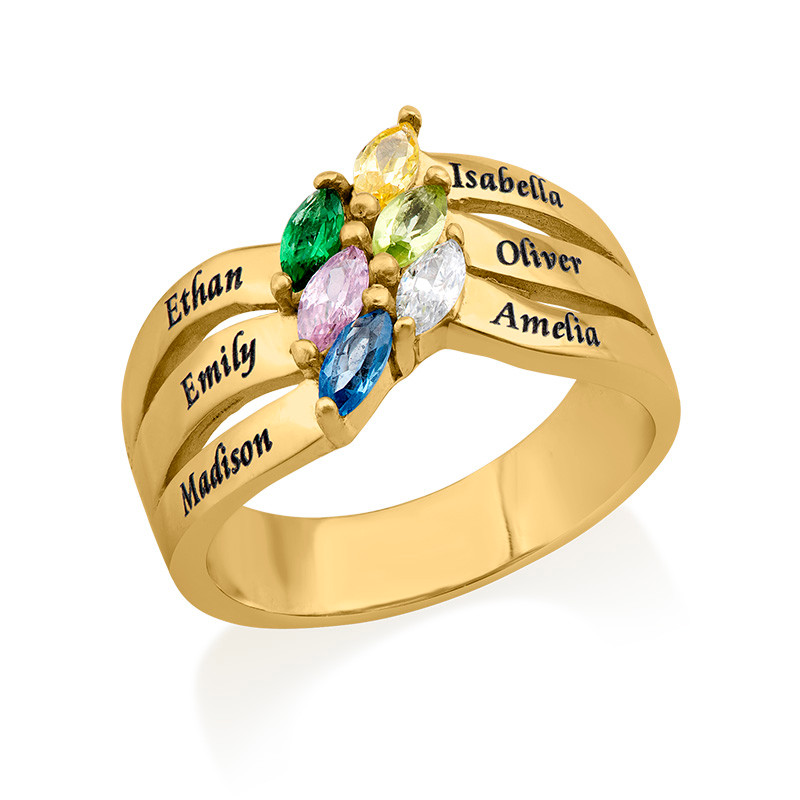Six Stone Mothers Ring with Gold Plating