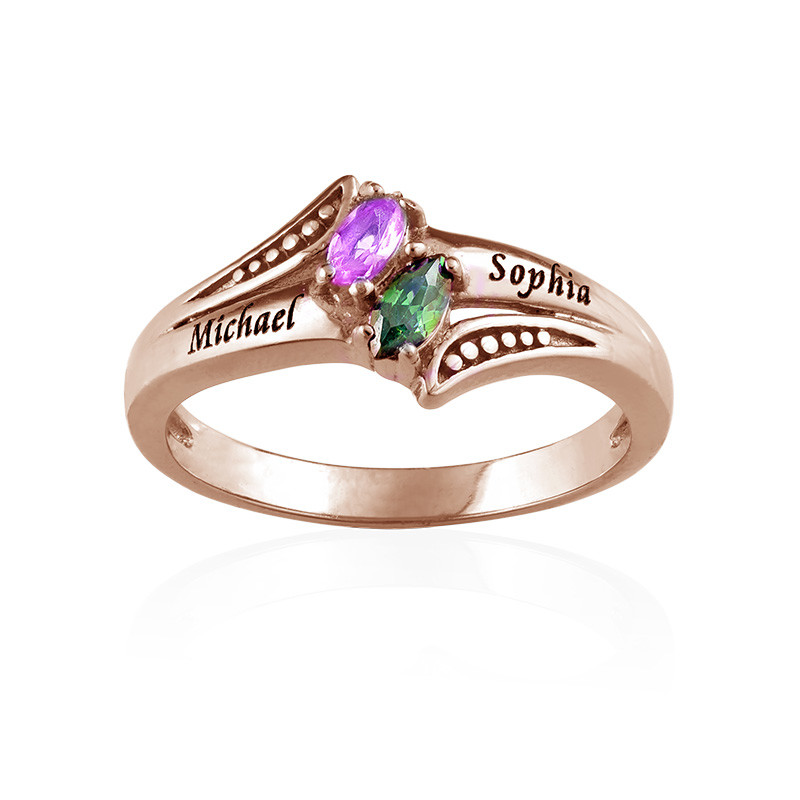 Personalized Birthstone Ring in Rose Gold Plating - 1
