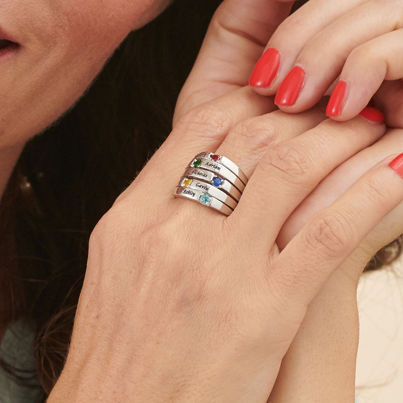 Five Stone Mothers Ring in Silver - 3
