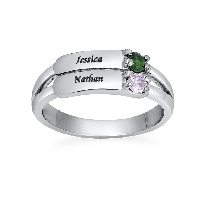 Engraved Two Birthstone Ring in Sterling Silver - 1