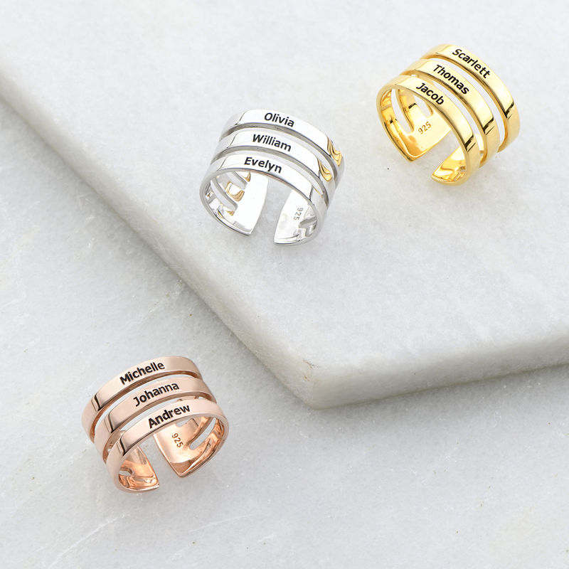 Three Name Ring in Sterling Silver - 2