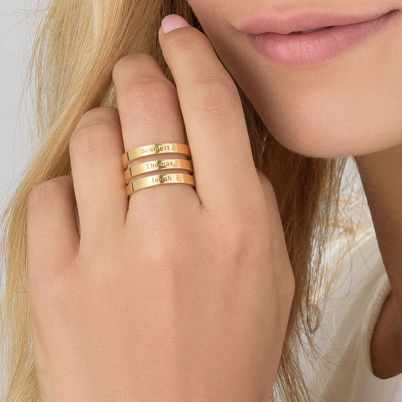 Three Name Ring in Gold Vermeil - 3