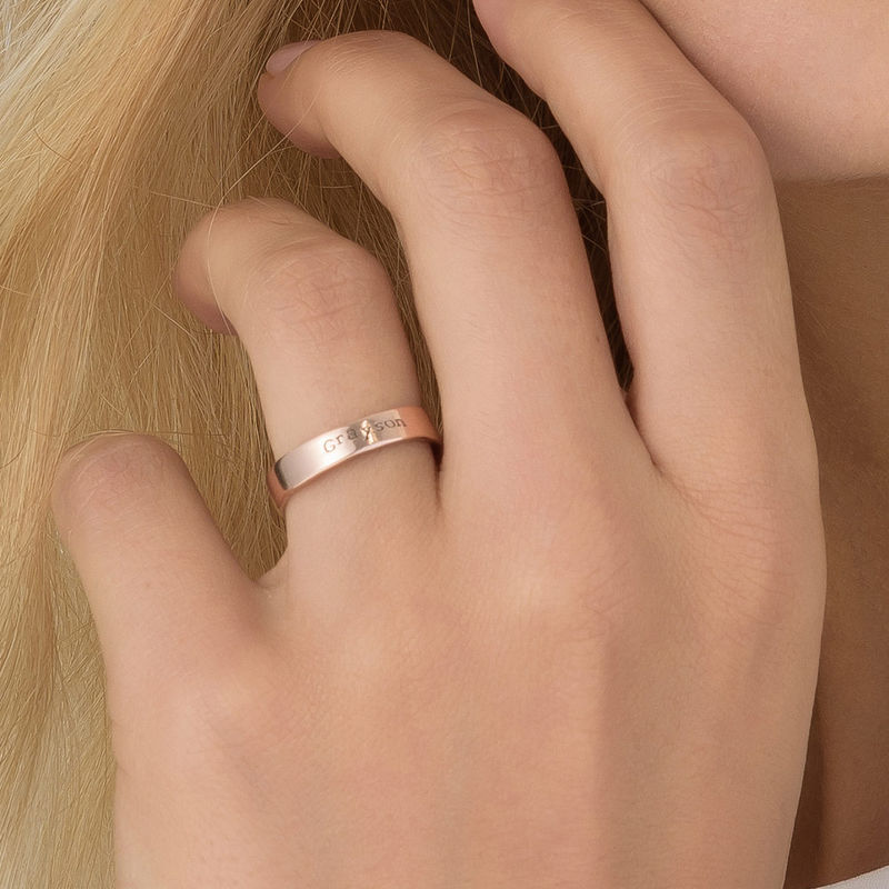 Engraved Name Ring - Hand Stamped Style with Rose Gold Plating - 3