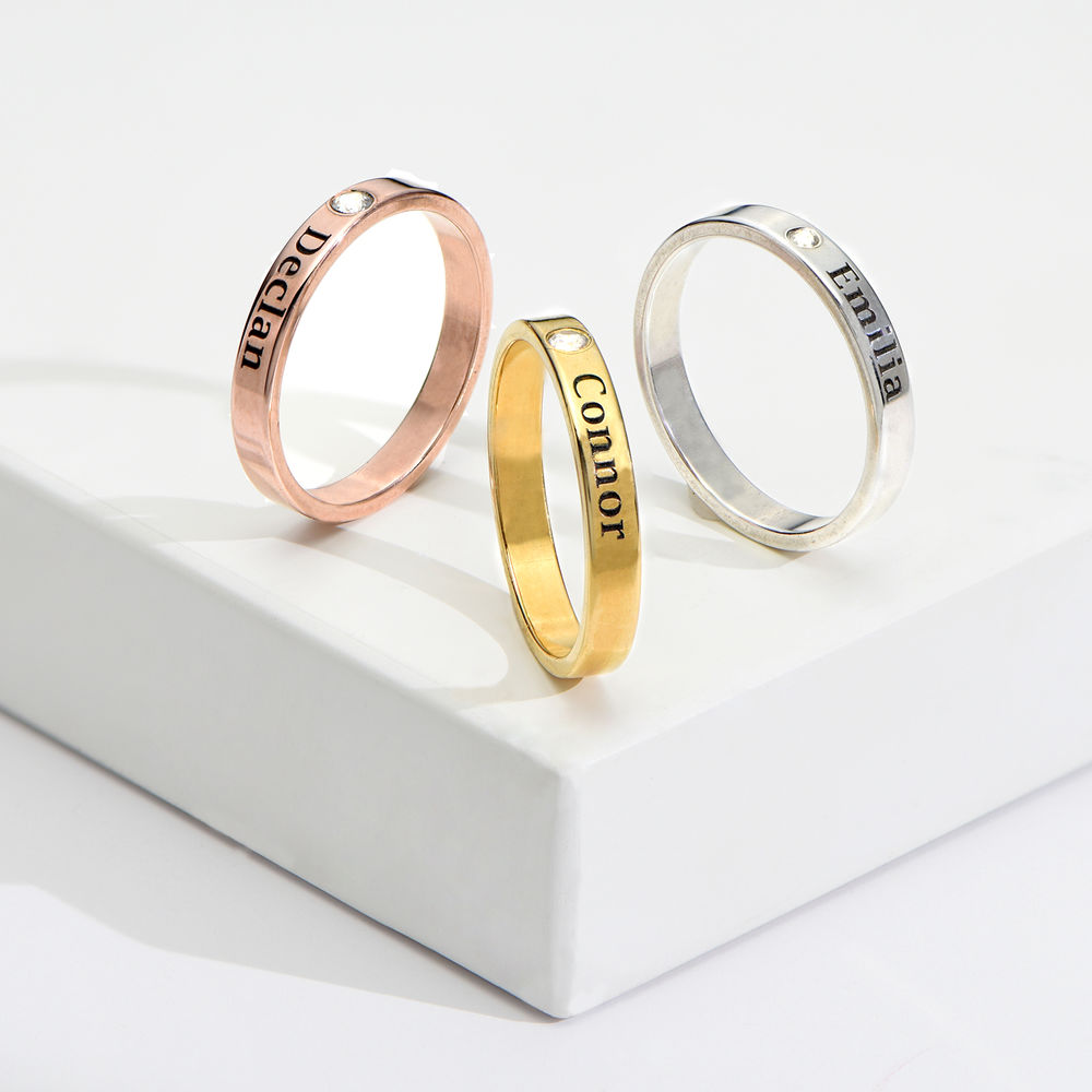 Stackable Name Ring in Gold Plating with Diamond - 3