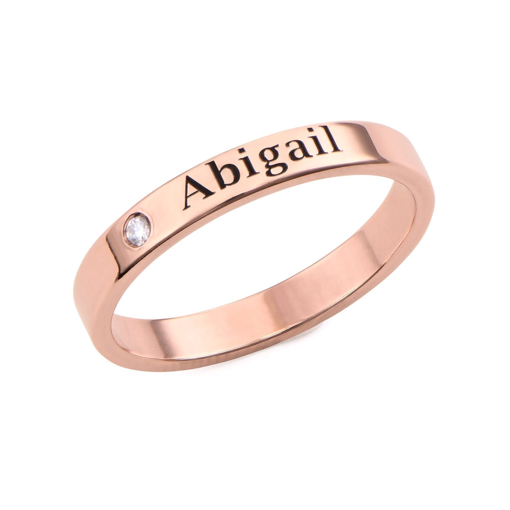 Stackable Name Ring in Rose Gold Plating with Diamond