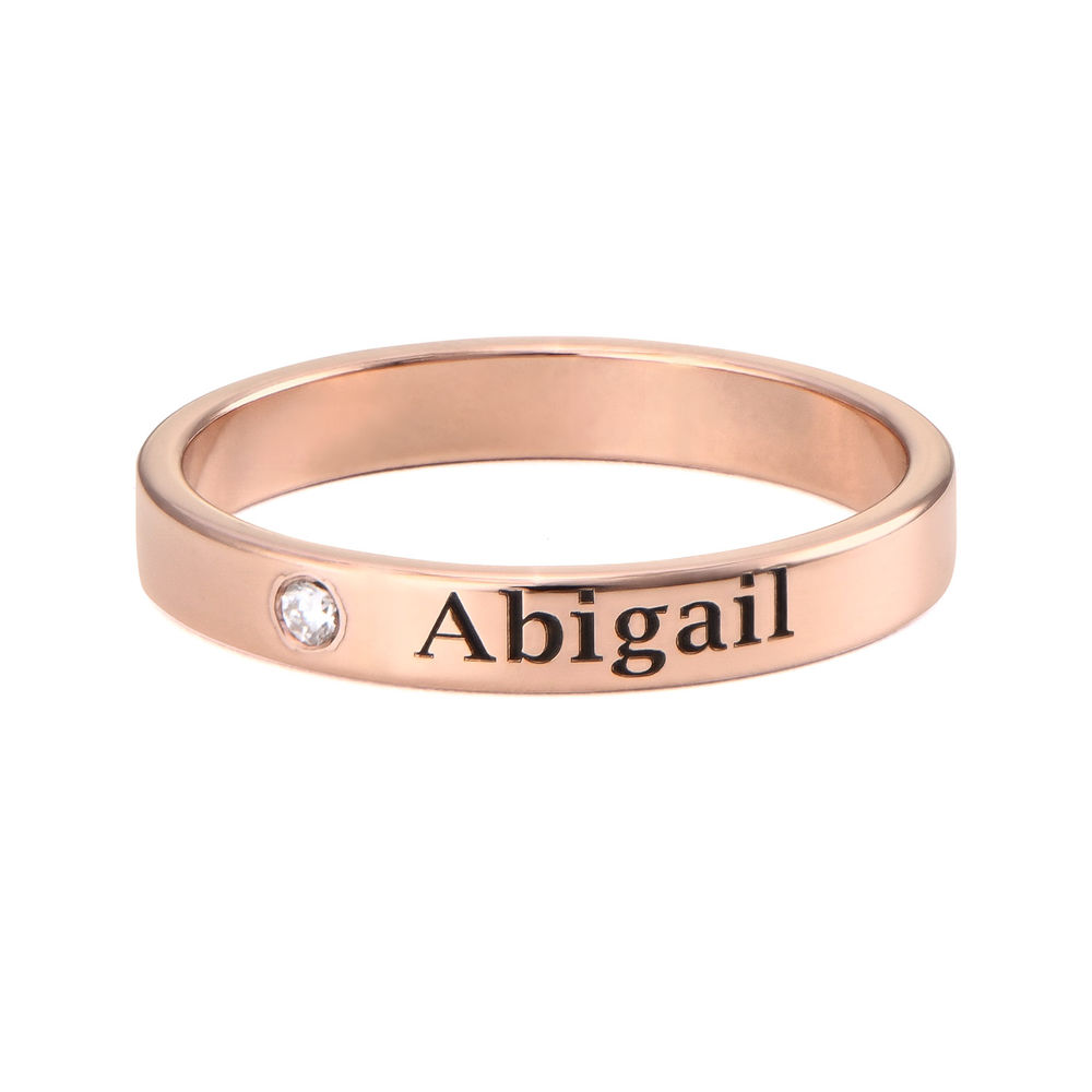 Stackable Name Ring in Rose Gold Plating with Diamond - 1